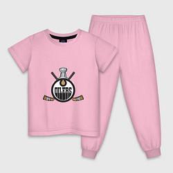 Пижама хлопковая детская Edmonton Oilers Hockey цвета светло-розовый — фото 1