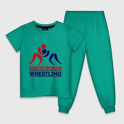 Пижама хлопковая детская Greco-roman wrestling цвета зеленый — фото 1