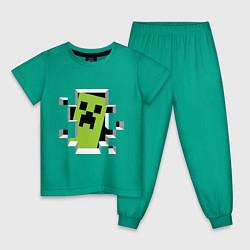 Пижама хлопковая детская Crash Minecraft цвета зеленый — фото 1