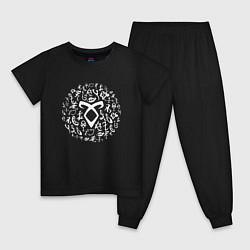 Пижама хлопковая детская Shadowhunters Runes цвета черный — фото 1