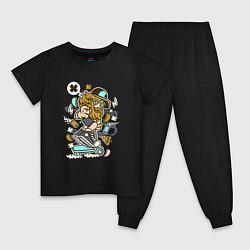 Пижама хлопковая детская Хипстер на самокате цвета черный — фото 1