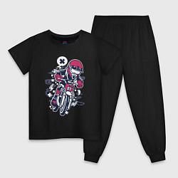 Пижама хлопковая детская Уличный мотоциклист цвета черный — фото 1