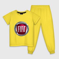 Пижама хлопковая детская FIAT logo цвета желтый — фото 1