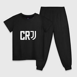 Пижама хлопковая детская CR7 цвета черный — фото 1