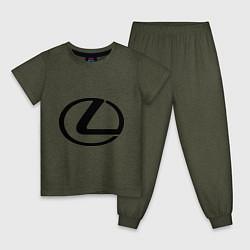 Пижама хлопковая детская Logo lexus цвета меланж-хаки — фото 1