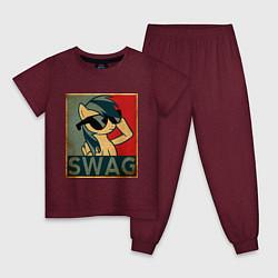 Пижама хлопковая детская SWAG Pony цвета меланж-бордовый — фото 1