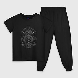 Пижама хлопковая детская Космическая сова цвета черный — фото 1