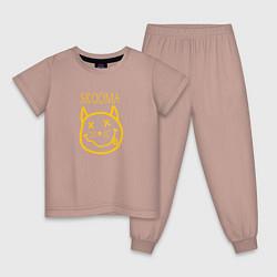 Пижама хлопковая детская TES: Skooma цвета пыльно-розовый — фото 1