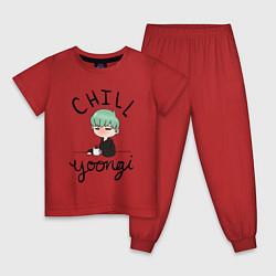 Пижама хлопковая детская Chill Yoongi цвета красный — фото 1