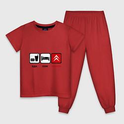Пижама хлопковая детская Еда, сон и Citroen цвета красный — фото 1