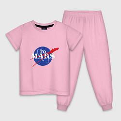 Пижама хлопковая детская На Марс цвета светло-розовый — фото 1