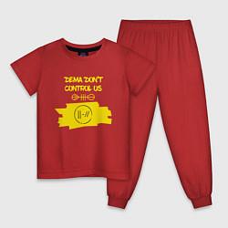 Пижама хлопковая детская Dema Don't Control Us цвета красный — фото 1