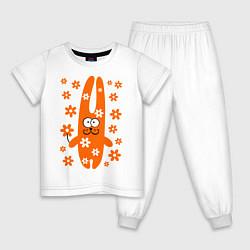 Пижама хлопковая детская Зайка с цветочками цвета белый — фото 1