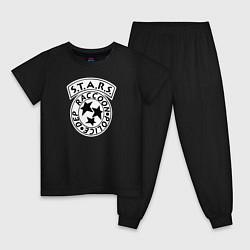 Пижама хлопковая детская STARS RACCOON CITY цвета черный — фото 1