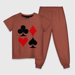 Пижама хлопковая детская Масти карт цвета кирпичный — фото 1