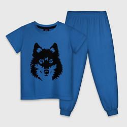 Пижама хлопковая детская Одинокий волк цвета синий — фото 1