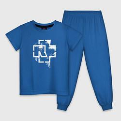 Пижама хлопковая детская Rammstein: White Logo цвета синий — фото 1