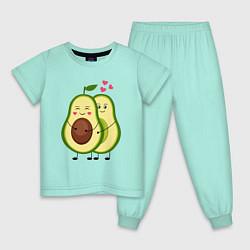 Пижама хлопковая детская Влюбленные Веганы Авокадо цвета мятный — фото 1