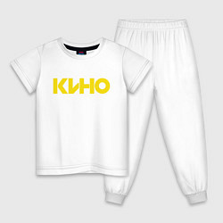 Пижама хлопковая детская Виктор Цой цвета белый — фото 1