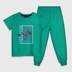 Пижама хлопковая детская Евангелион цвета зеленый — фото 1