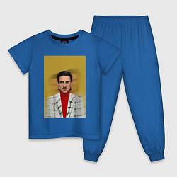 Пижама хлопковая детская Little Big: Banana Man цвета синий — фото 1