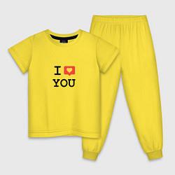 Пижама хлопковая детская I love you цвета желтый — фото 1