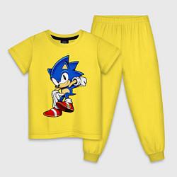 Пижама хлопковая детская SONIC цвета желтый — фото 1