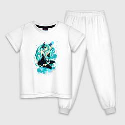 Пижама хлопковая детская Хацуне Мику цвета белый — фото 1