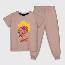 Пижама хлопковая детская Капитан Марвел цвета пыльно-розовый — фото 1
