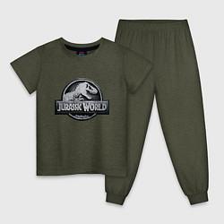 Пижама хлопковая детская Jurassic World цвета меланж-хаки — фото 1
