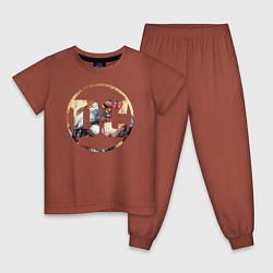 Пижама хлопковая детская Cyborg цвета кирпичный — фото 1