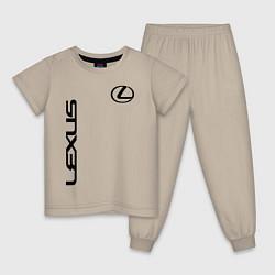 Пижама хлопковая детская LEXUS цвета миндальный — фото 1