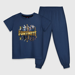Пижама хлопковая детская Fortnite Chapter 2 цвета тёмно-синий — фото 1