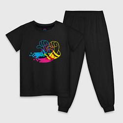 Пижама хлопковая детская Дональд Дак цвета черный — фото 1