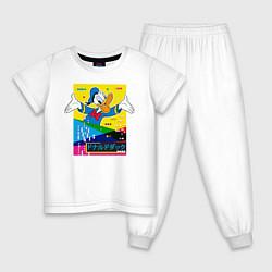 Пижама хлопковая детская Дональд Дак цвета белый — фото 1