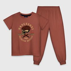 Пижама хлопковая детская Острые козырьки Череп и бритвы цвета кирпичный — фото 1