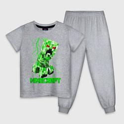 Пижама хлопковая детская MINECRAFT CREEPER цвета меланж — фото 1