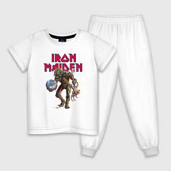 Пижама хлопковая детская Iron Maiden цвета белый — фото 1