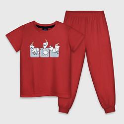 Пижама хлопковая детская Холодное сердце цвета красный — фото 1