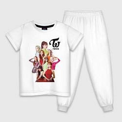 Пижама хлопковая детская Twice цвета белый — фото 1