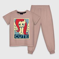 Пижама хлопковая детская Fluttershy cute цвета пыльно-розовый — фото 1