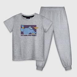 Пижама хлопковая детская Джинн цвета меланж — фото 1