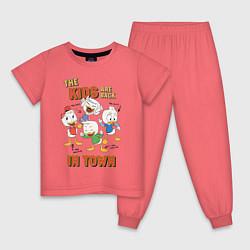 Пижама хлопковая детская The Kids are back цвета коралловый — фото 1