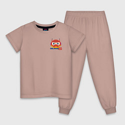Пижама хлопковая детская Baymax цвета пыльно-розовый — фото 1