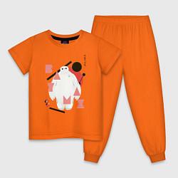 Пижама хлопковая детская Бэймакс цвета оранжевый — фото 1