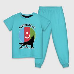 Пижама хлопковая детская Азербайджан цвета бирюзовый — фото 1