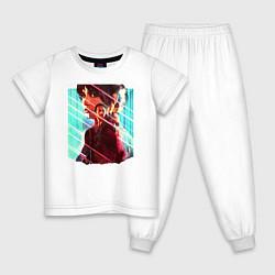Пижама хлопковая детская Бегущий по лезвию цвета белый — фото 1