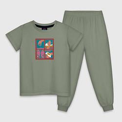 Пижама хлопковая детская Slava Marlow цвета авокадо — фото 1