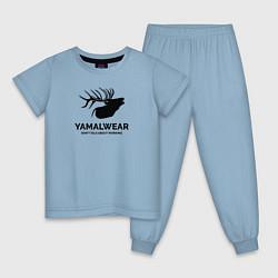 Пижама хлопковая детская Yamalwear цвета мягкое небо — фото 1