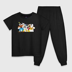 Пижама хлопковая детская Микки и друзья цвета черный — фото 1
